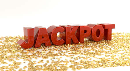 Jackpot Red text on gold stars High quality 3D Render Stock Photo