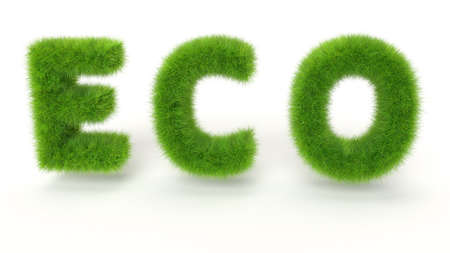ECO - Green grass text on white background - High quality 3D Render Stock Photo