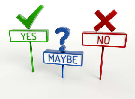 Yes No Maybe - High quality 3D Render Stock Photo - 39647649