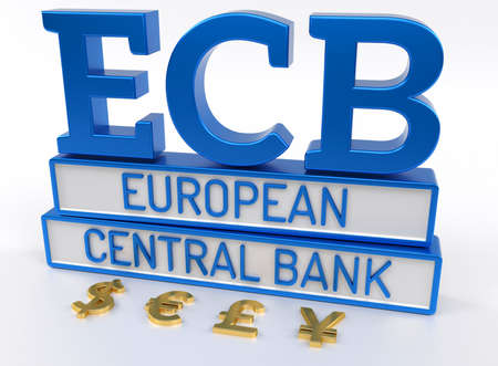 ecb: ECB European Central Bank - High quality 3D Render - White background