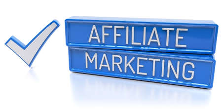 Affiliate Marketing Blue banners with check mark 3D Render Isolated Stock Photo