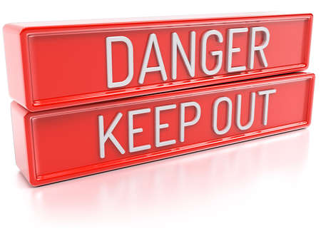 keep out: Danger Keep Out Red banners with text Isolated 3D Render
