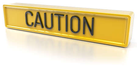 Caution Yellow banner with text Isolated 3D Render