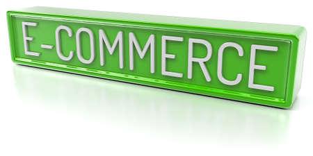 Metin İzole 3D ile E-ticaret Yeşil afiş Render