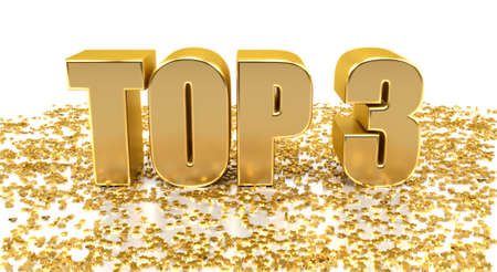 first rate: TOP 3 - with stars on white background - High quality 3D Render