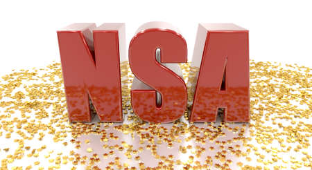 NSA - with gold stars on white background - High quality 3D Render