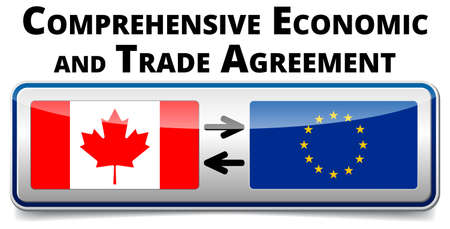 comprehensive: CETA - comprehensive economic and trade agreement between Canada and the European Union. Illustration