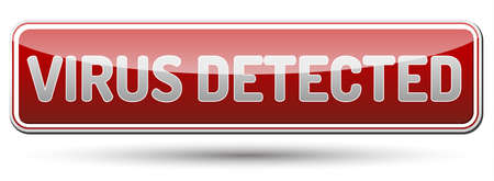 computer viruses: Virus Detected - glossy banner with shadow