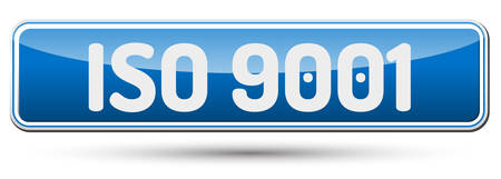 norm: ISO 9001 - Abstract beautiful button with text.