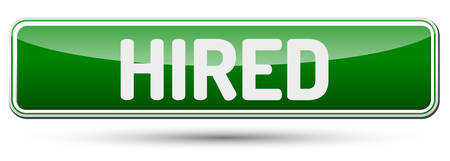 HIRED - Abstract beautiful button with text.