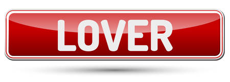 LOVER - Abstract beautiful button with text.