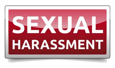 Molestie sessuali - banner con ombra, illustrazione vettoriale. Vettoriali