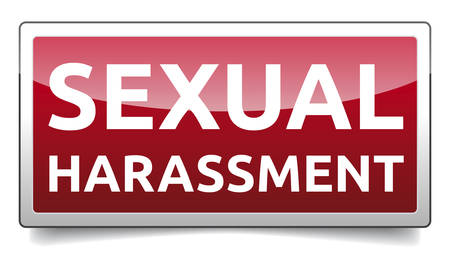 Sexual Harassment - banner with shadow, vector illustration.