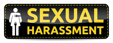 Sexual Harassment - Banner with woman pictogram, vector illustration.