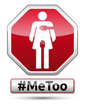 Metoo - señal de tráfico con el pictograma de la mujer, ilustración vectorial.