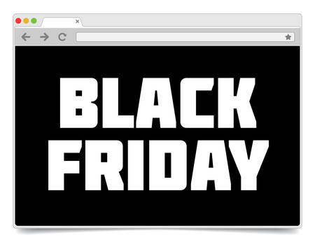 Black Friday inscription simple internet browser design template.