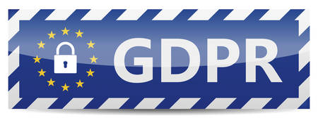 GDPR - European General Data Protection Regulation. Banner with EU stars and shadow