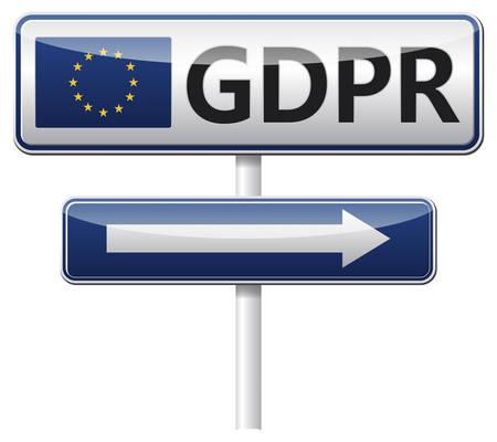 GDPR - 欧州の一般的なデータ保護規制。ベクトルの図。  イラスト・ベクター素材