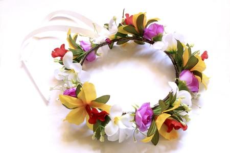 romance flower crown in white background