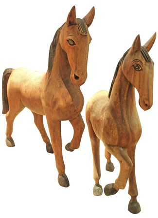 horse wood carve in white backgroud