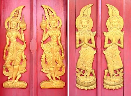 art of Thai style door temple photo