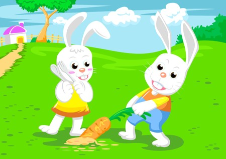 couple rabbits and big carrot vecter Stock Photo - 7921052