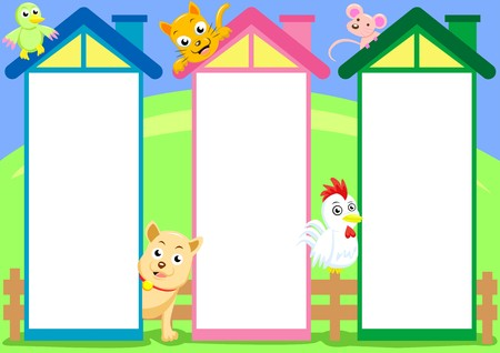 display window: three house column cartoon for input text or use for brochure three column