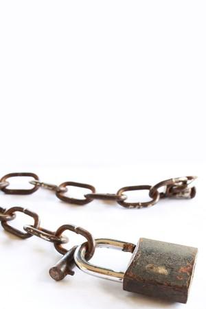 chain lock on white  background photo