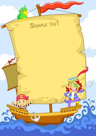 cartoon frame: La felice pirata cartone animato telaio