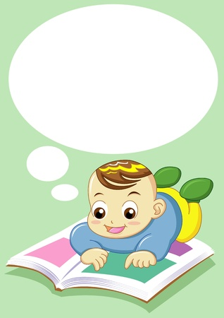 baby reading can use for input text in  blank space photo