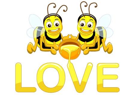 couple bee in love vector photo