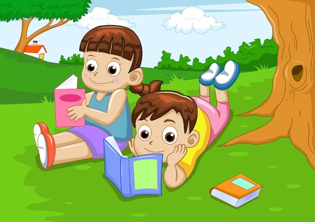 cartoon school girl: boy and girl reading book