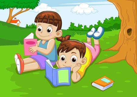 menino e livro de leitura da menina
