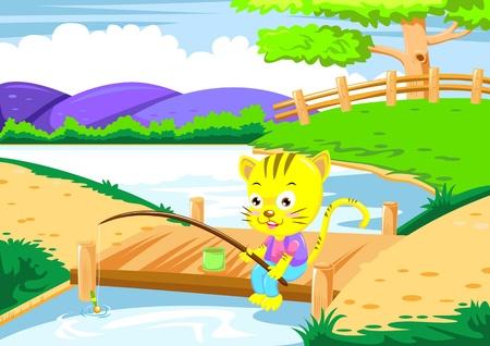 cat fishing  photo