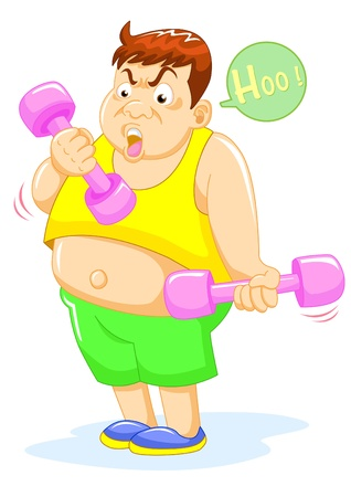 fat man weight lifting vector photo