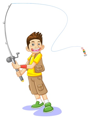 fisherman: the fisherman and a fishhook, vector