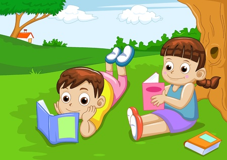 kids reading: boy and girl reading book