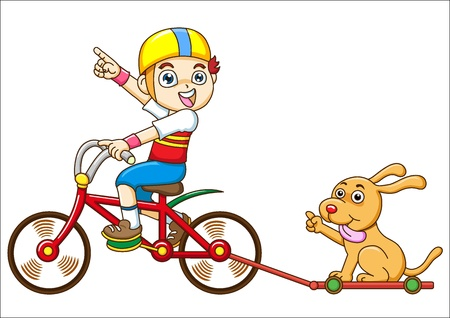 bicycling: boy and dog Riding a bicycle