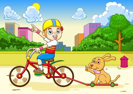 boy and dog Riding a bicycle