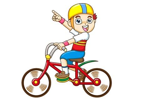 bicycle cartoon: boy Riding a bicycle
