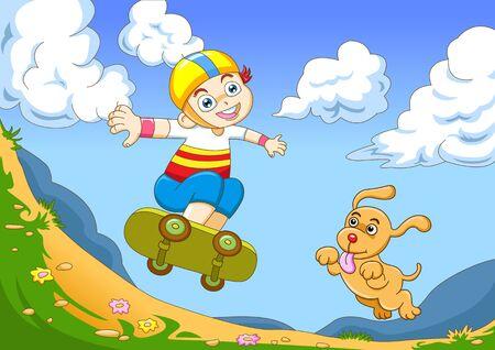 the yong boy in skateboarding photo