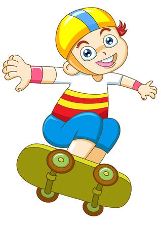sport cartoon: the yong boy in skateboarding Stock Photo