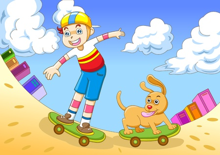 small town life: the yong boy in skateboarding Stock Photo