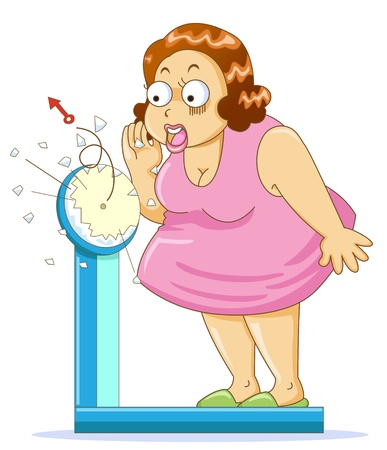 belly fat: Overweight fat woman on the weight scale