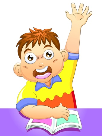 achiever: Shoolboy eager to answer a question Stock Photo