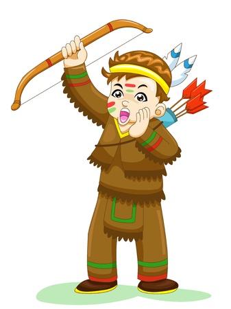 cartoon warrior: indian boy