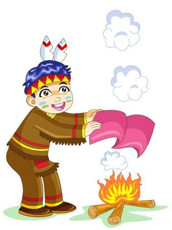 red smoke: indian boy
