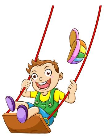 Ilustración de un niño en un columpio Ilustración de vector