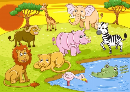 group of african safari animal