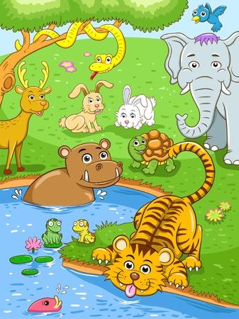 os animais em florestas tropicais